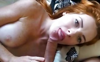 Sexy redhead Ex-GF making blowjob before painful anal sex