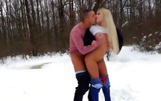 Adorable light-haired girlfriend has painful sex outdoors