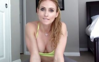 Fantastic athletic girlfriend posing and playing with snatch