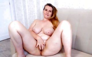 Nasty amateur floosie with huge titties playing with snatch