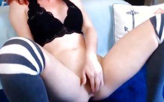 Watch my GF with stunning body insanely masturbating slit