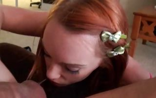 Horny redhead Ex-GF Dani making insane rimjob for dude