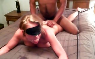 Rough interracial sex on bed with stunning blonde girlfriend