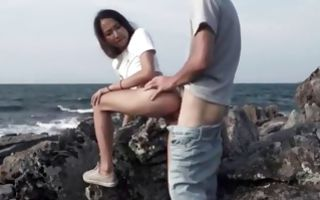 Gorgeous Asian girlfriend roughly fucked in tight cum-hole