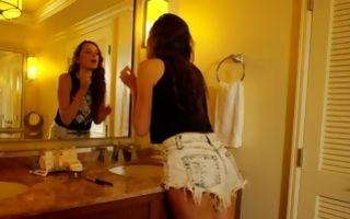 Charming teen girlfriend making deep blowjob for dude