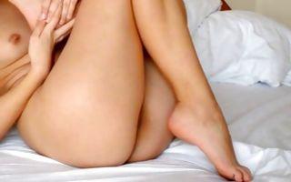 Cute brunette ex-girlfriend with hot body licking sexy feet