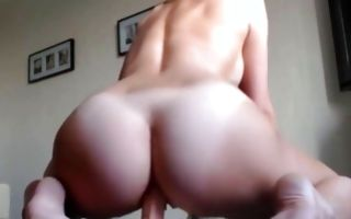 Spicy blonde Ex-GF with big booty riding on huge dildo
